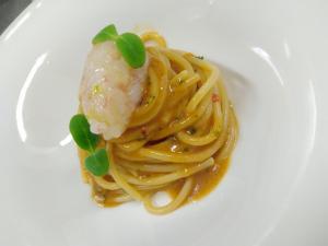 Spaghetto con scampo marinato